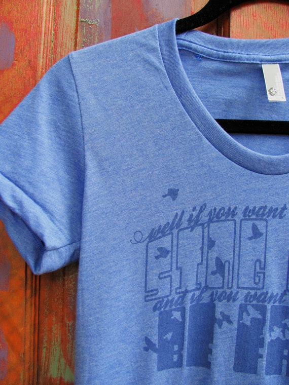SALE - well if you want to sing out sing out : screenprinted lady t-shirt