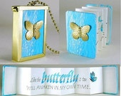 BUTTERFLY BOOKLACE - A tiny accordion book necklace with a handwritten calligraphy quotation - Can personalize for you