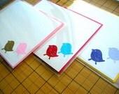 Bubblegum and Goldilocks Chirp Lovebirds Hand Embossed Stationery with Bubblegum Envs