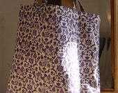 To Market and More - Tote in Vintage Fabric - purple folk