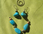 Turquoise Howlite Chunk Necklace Set