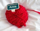 "Patons ""Anna"" Red Wool Blend Yarn"
