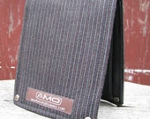 Men's Leather Billfold - Metro Man Bifold Wallet with Snap Pocket Coin Purse -- Paprika, Cayenne and Gray Stripes