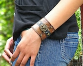 Hey Ladies..... Steampunk  Leather Wrist Wallet Cuff with Secret Pocket - Distressed Brown