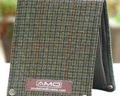 Men's Leather Billfold Wallet - Metro Man Bifold - Woodland Green Check Wool