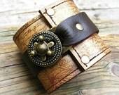 Hey Ladies.... Steampunk Leather Wrist Wallet Cuff with Secret Pocket - Timeless Romance - Midas Touch