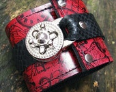 Hey Ladies.... Steampunk Leather Wrist Wallet Cuff with Secret Pocket - Timeless Romance - Scarlet Red