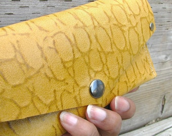 Grab-N-Go Spicey Saffron Yellow Leather Snap Wallet Purse