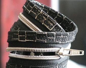 Rochelle Dual Purpose Leather Wrist Cuff Choker -- Black and Silver Suede