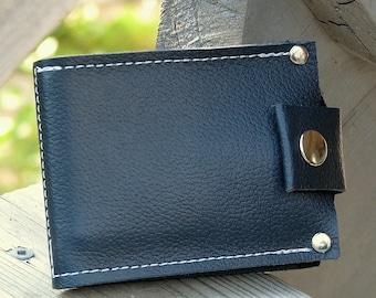 Men's Leather Wallet - Slim Jim Bifold Money Clip - Nautical Blue