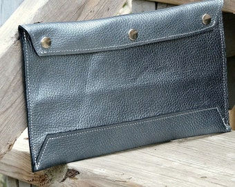 Leather Envelope Document Holder - Pearl Blue