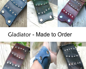 Leather Wrist Wallet Cuff with Secret Pocket - Made To Order  Unisex Wristband - The Gladiator
