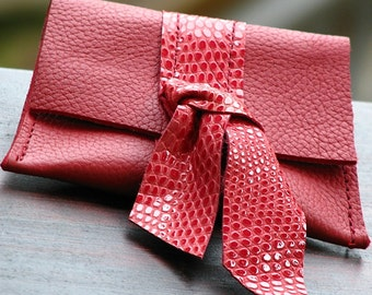 Red Leather Coin Purse Snap Wallet for Women  with bow