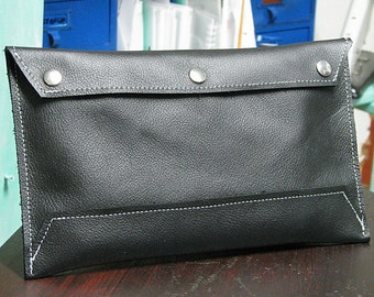 Black Leather Envelope Document Holder Clutch - Purse