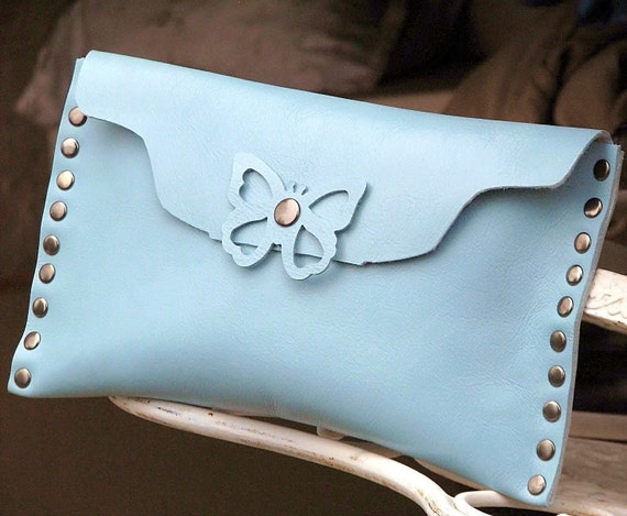Women's Leather Clutch Purse - Bonita Butterfly -- Blue