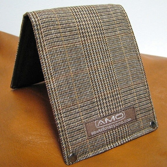 Men's Wallet - Leather and Wool Billfold with Snap Pocket Coin Purse - Metro Man -- Cognac Plaid