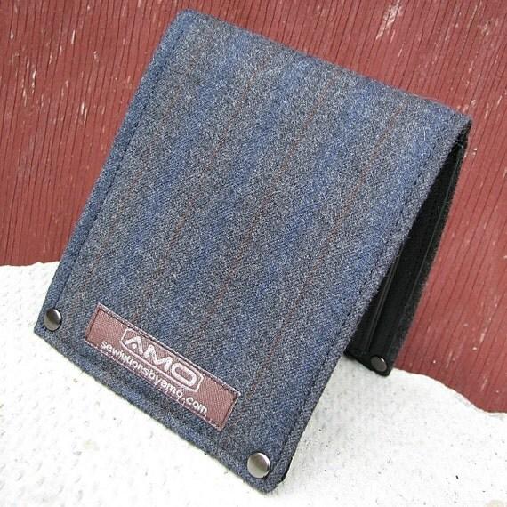 Men's Leather Billfold Wallet - Metro Man Bifold - Blue, Gray, Rust Stripes Wool