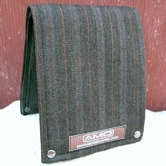 Men's Billfold Wallet - Metro Man Leather and Wool Bifold - Harvest Stripes