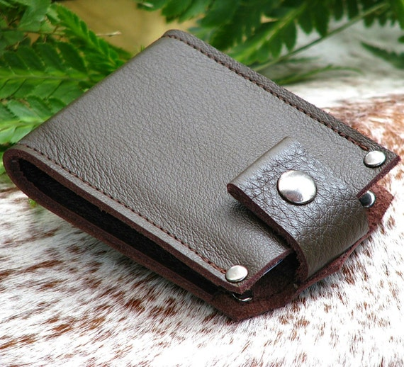 Men's Leather Wallet - Slim Jim Leather Bifold Money Clip --- Chocolate Brown
