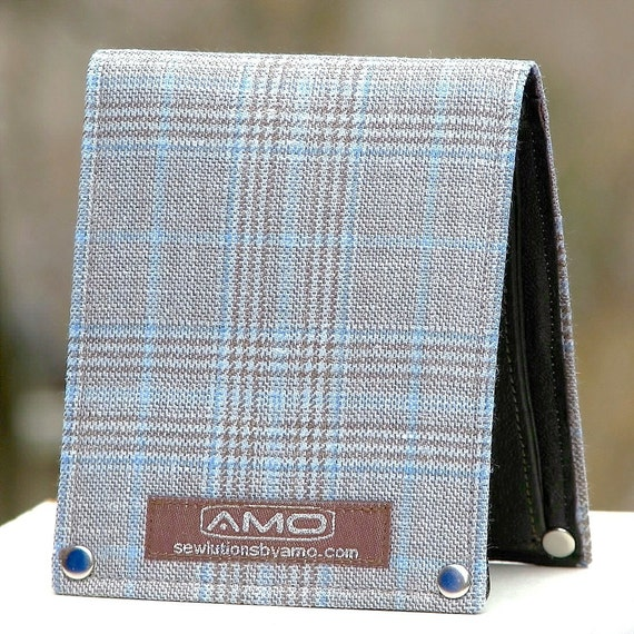 Men's Leather Billfold Wallet - Metro Man Bifold - Sky Blue Plaid wool and silk
