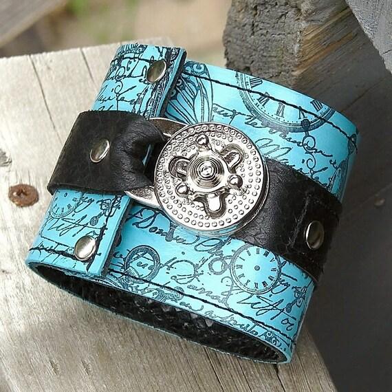 "Hey Ladies.....  Leather Steampunk Unisex  Wrist Wallet Cuff with Secret Pocket - Timeless Romance - Aqua Size 7.25"""