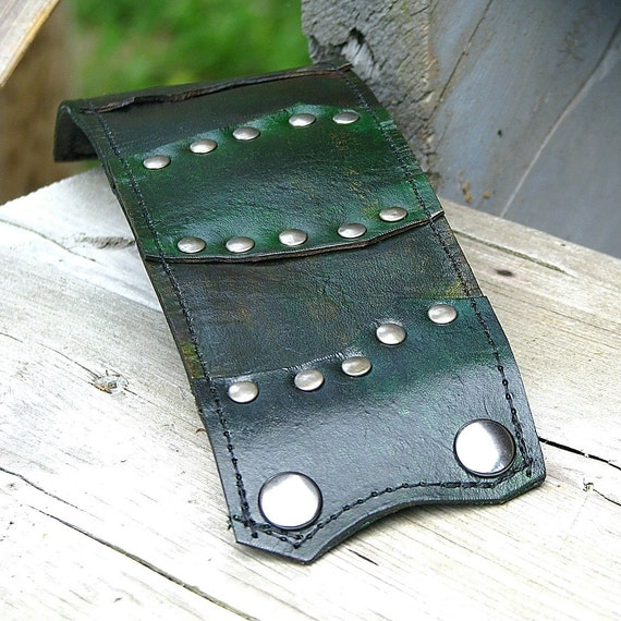 Leather Wrist Wallet Unisex Cuff with Secret Pocket -- The Gladiator Wristband -- Shades of Green