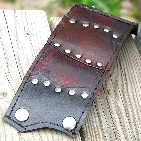 Leather Wrist Wallet Cuff with Secret Pocket -- The Gladiator Wristband -- Brown with Black