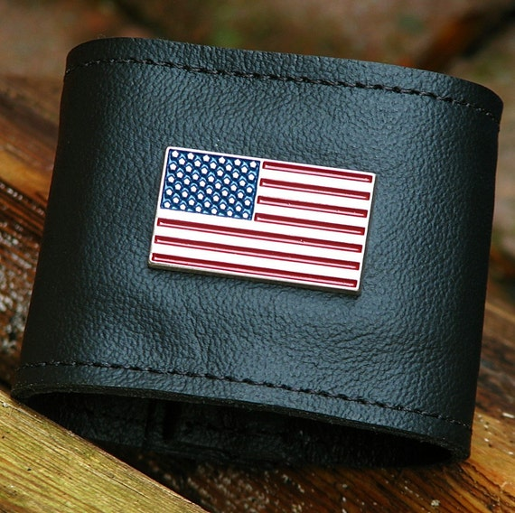Leather Wristband Wallet for Women and Men -- America The Beautiful Cuff with Secret Pocket -- Black
