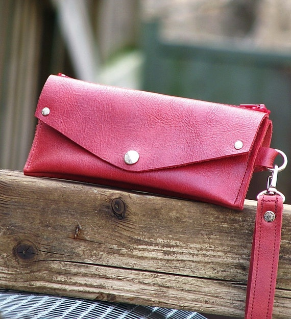 Women's Grab-N-Go Leather Wallet Wristlet with Zippered Coin Purse - Rustic Red
