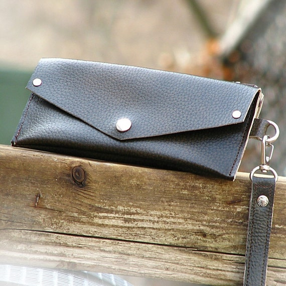 Women's Grab-N-Go Leather Wallet Wristlet with Zippered Coin Purse - Brown