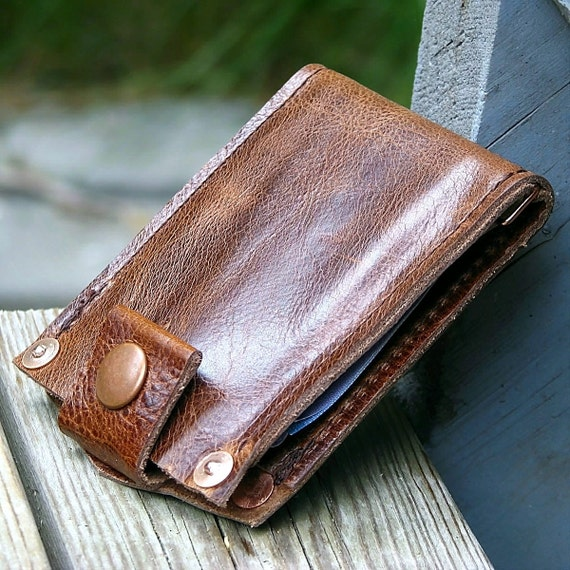 Men's Leather Wallet - Last One - Slim Jim Bifold Money Clip --- Distressed Brown with Copper