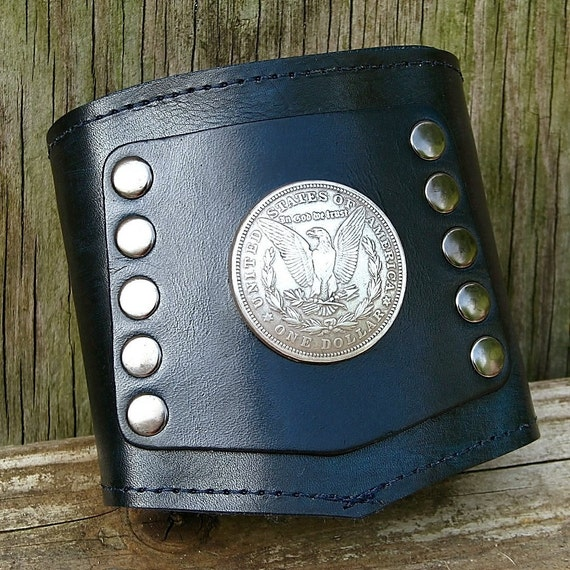 Prospect -- The Biker's Leather Wrist Wallet Cuff with Secret Pocket  - -  Silver Morgan Dollar Blue Black Wristband