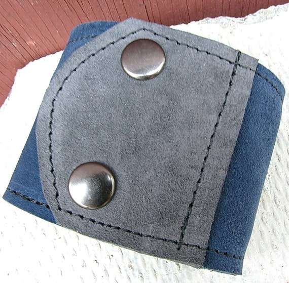 Leather Wrist Wallet Cuff  - Reversible - Maddox On-the-Go - Unisex  - Blue and Grey Suede Wristband