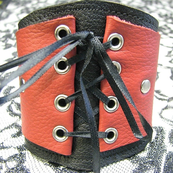 Women's Leather Corset Wrist Wallet Cuff with Secret Pocket - Red on Black