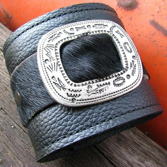 Leather Wrist Wallet Cuff with Secret Pocket - The Maverick Wristband- Limited Edition No. 3 -- Black Hair-on Cow Hide