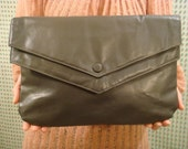 Vintage 80s Gray Leather Clutch Purse