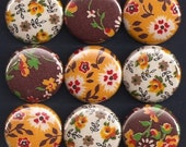 One Inch Magnet Set - Vintage Fabric Flowers