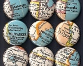 One Inch Magnet Set - Vintage Wisconsin Map - One of a kind set