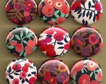 One Inch Magnet Set - Liberty of London Fabric Flowers - Pinks and Reds