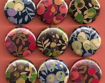 One Inch Magnet Set - Liberty of London Fabric Flowers - Dark Palette