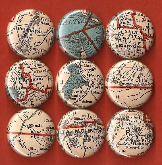 One Inch Magnet Set - Vintage Utah Map - One of a kind set