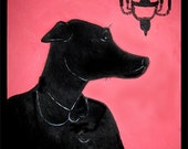 victorian silhouette of your pup and chandelier - painting