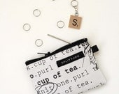 Knitting Zip Change Purse in black and white