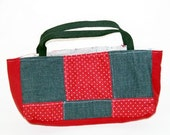 red polkadot patchwork purse