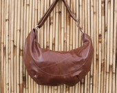 Large Brown Hobo bag - with adjustable strap