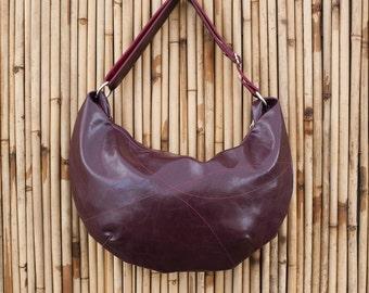 Large Wine Hobo Bag - long cross body strap