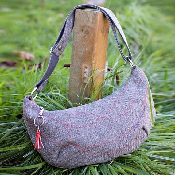 Gray tweed bag medium hobo - cross body strap red