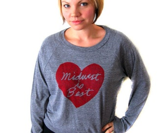 midwest is best long-sleeve, midwest is best heart, slouchy top, gray and red, women's top, megan lee designs, free ship
