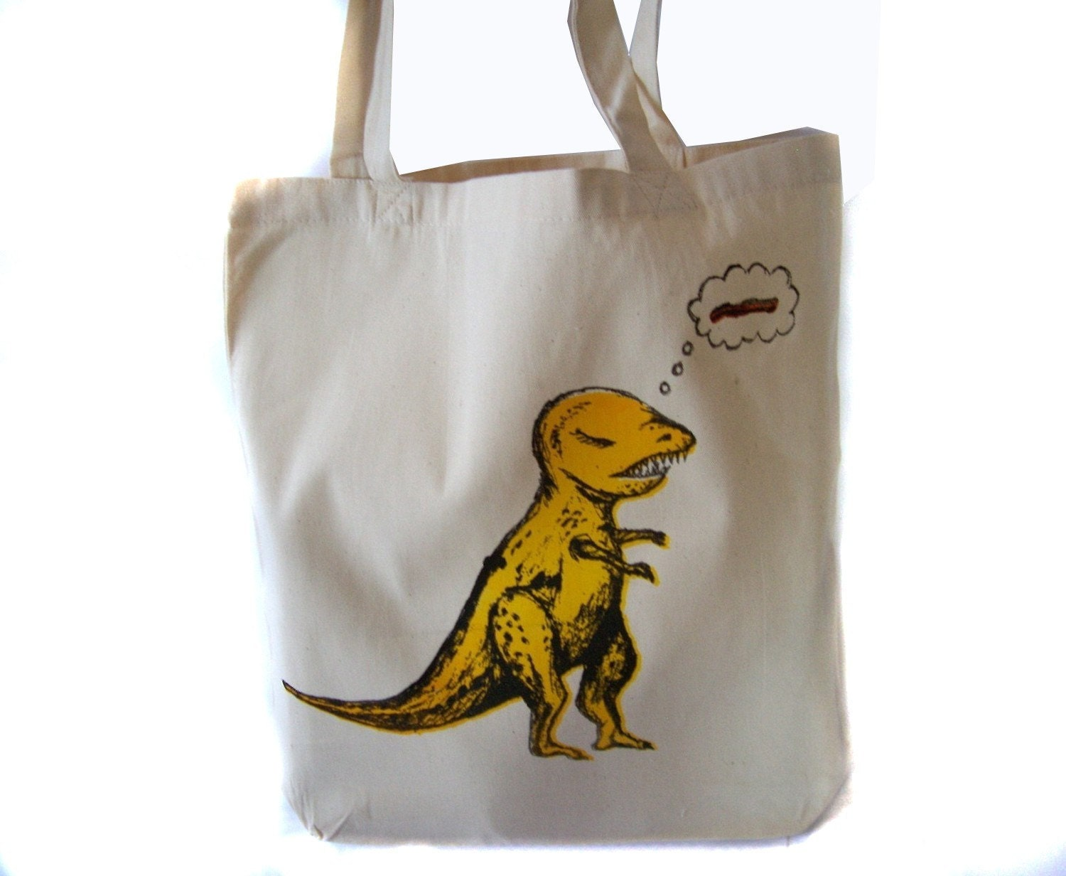 T rex totebag canvas tote screenprinted totebag for T shirt printing westerville ohio