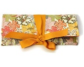 Floral Clutch in Liberty of London fabric // Bright floral clutch purse with ribbon bow